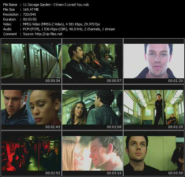 Savage garden video download i knew i loved you video vob for I knew i loved you by savage garden